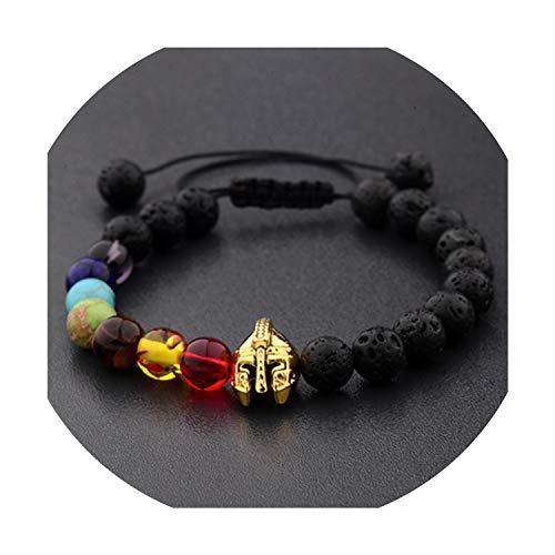 (Charm Knight Warrior Gladiator Helmet Bracelet Men Natural Stone 7 Chakra Bead Adjustable Bracelets,ABK009-1)