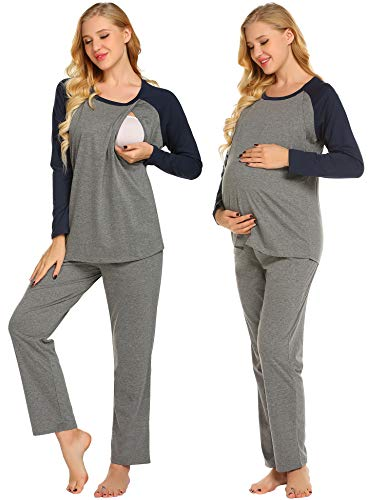 Ekouaer Womens Maternity Pajama Sets Long Sleeves Thermal Underwear Striped Pregnant Sleepwear, 9793-deep Gray, Large