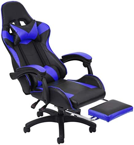 Gaming Chair with Footrest Racing Office Chair Ergonomic Desk Chair Massage PU Leather Recliner Computer Chair with Lumbar Support Headrest Armrest Footrest Rolling Swivel Task Chair for Adults