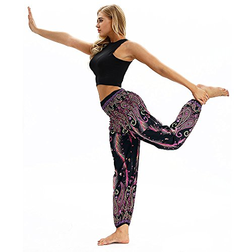 Purple4 Casual Loose Baggy Polyester Boho Pants Print Trousers Harem Xmiral Trousers Men Yoga Women Hippy Pants qtIcwHZ