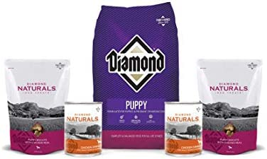 Diamond Dry Puppy Food 8lb-2 Puppy Chicken Biscuits 2 cans of Chicken Dinner 1 Lid 1 Dog Toy