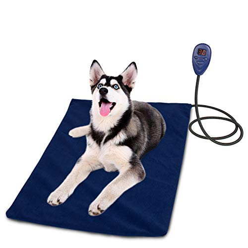 BIGWING Style Pet Heating Pad,IP68 Waterproof Pet Bed Warming Mat Soft Removable Cover 7 Levels Adjustable Temperature with Chew Resistant Steel Cord LCD Display for Dog Cat (25.6x15.8)