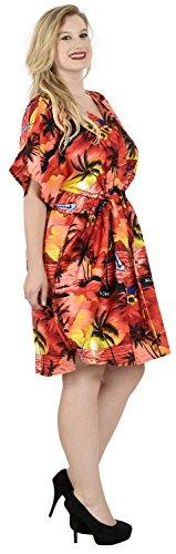 La Leela robe likre kimono beachwear aloha court caftan femmes couvrent haut rouge