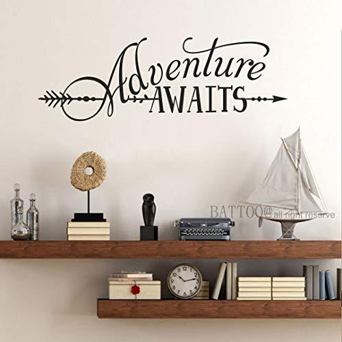 BATTOO Adventure Awaits Wall Decal Quote, Vinyl Lettering with Arrow, Adventure Quote Travel Wall Decal Sticker 22 W 7.5 H, Tribal Theme Room Decor, Black