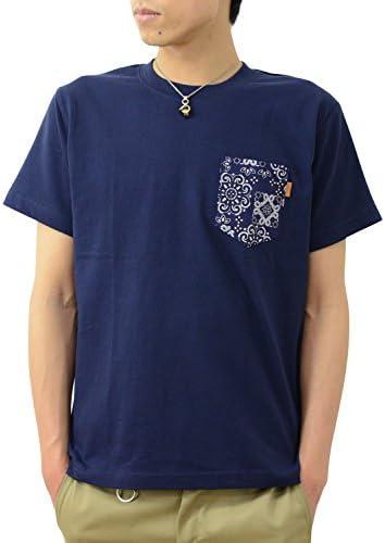 半袖 バンダナ ポケット Tシャツ オリジナル 本革 タブ ポケT 無地 メンズ レディース 大きいサイズ PKST-BANDA