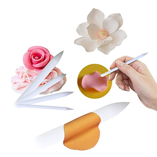 6pcs Non Stick Craft Frilling Sticks for Sugar Flower by Art Kitchenware Plastic Cake Modelling Equipment Set