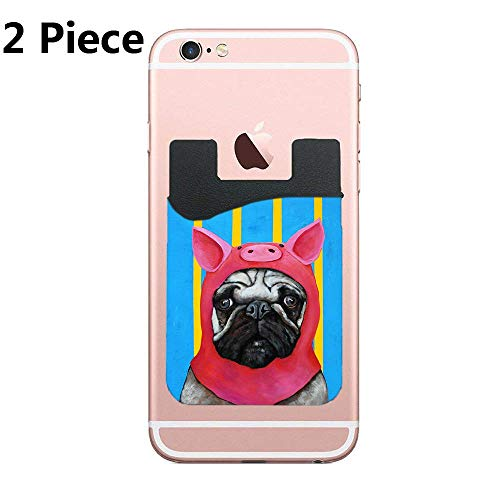 CardlyPhCardH Phone Card Holder, Pofesun 2 Pack Mix Color Adhesive Sticker ID Credit Card Wallet Pocket Pouch Sleeve Universal Compatible for Smartphone, iPhone, Porky Pug