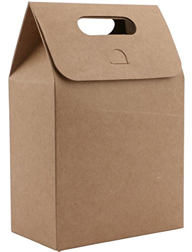 Kraft Paper Take Out Box,Katkitchen 50PCs Gift Wrap Bags Box Take Out Container with Handle 12x7x18cm Brown Stand Up Kraft Food Storage Shopping Party Restaurant Takeouts Bags Pouch Gift Favor Wrap