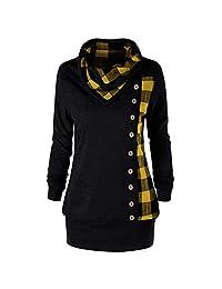 FANOUD Women Tops Blouse Long Sleeve Plaid Turtleneck Tops Sweatshirt Pullover