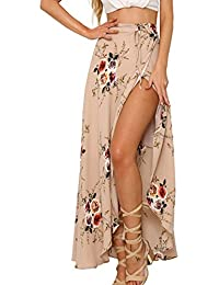 Womens Boho Floral Tie Up Waist Summer Beach Wrap Cover Up Maxi Skirt