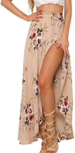 Yonala Womens Boho Floral Tie up Waist Summer Beach Wrap Cover up Maxi Skirt