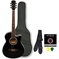 Kadence Frontier Series,Black Acoustic Guitar Combo(Bag,Strap,Strings And 3 Picks)