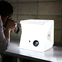 LYNICESHOP Small Portable Foldable Photo Studio Shooting Tents,Built-in Mini LED Lightbox Photography Shooting DIY Tent Kit with 2pcs Backdrops Background Pads(White&Black) (15.74×15.74×15.74(inch)