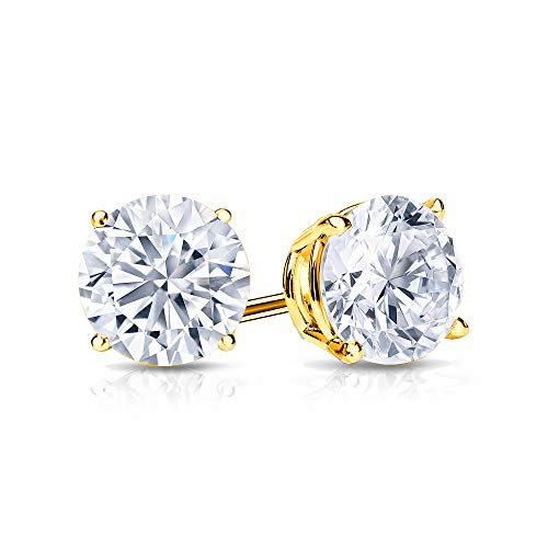9mm White Topaz Stud Earrings in 14k Yellow Gold (5 -