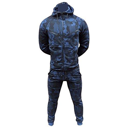 Men/'s Army Camouflage Design Camo Tracksuit Hoodie Zipper Joggers 2 Piece Suit
