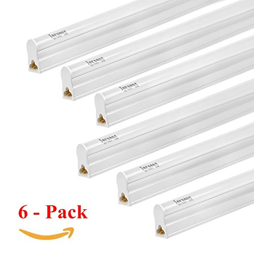 4' 20w Single Light - (Pack of 6) Jarsant LED T5 Integrated Single Fixture Utility Shop Light, LED Tube Light 20W 4FT 2200lm 6500K (Super Bright White), Ceiling Under Cabinet Light, Corded Electric Built-in ON/OFF Switch