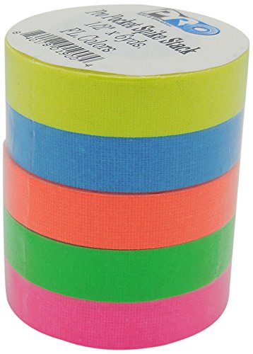 Pro Pocket Spike Stack RS127SS5X12X5.4 12 mm x 5.4 m Fluorescent Matt Cloth Tape - Pink/Blue/Orange/Yellow/Green Pro Tapes & Specialties Inc USA