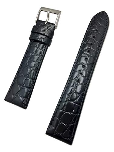 22mm Long, Black Genuine Leather Watch Band | Round Alligator Crocodile Grained, Lightly Padded Replacement Wrist Strap That Brings New Life to Any Watch (Mens Long Length)