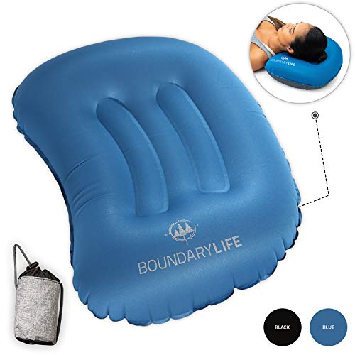 Boundary Life Inflatable Camping Pillow - Lightweight, Ultralight Backpacking Camping Inflatable Pillows for Sleeping Neck Support and Lumbar Support While Camping, Air or Car Travel Pillow