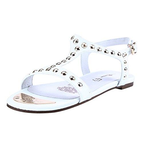 Damara Kvinners T-strap Suede Nagler Ornament Flats Sandaler Hvit