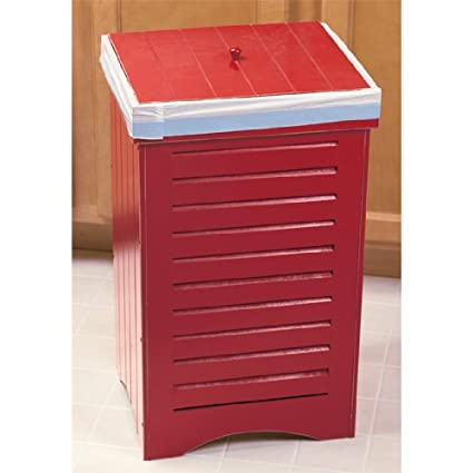 Incroyable Red Wooden Kitchen Trash Bin Garbage Can