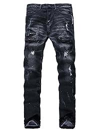 Jinmen Men's Vintage Casual Ripped Broken Hole Jeans Denim Jogger Pants Plus