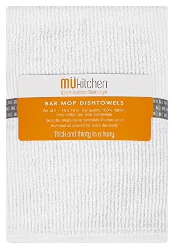 MUkitchen Bar Mop Dishtowel, White, Set of 3 - Mu Kitchen Cotton