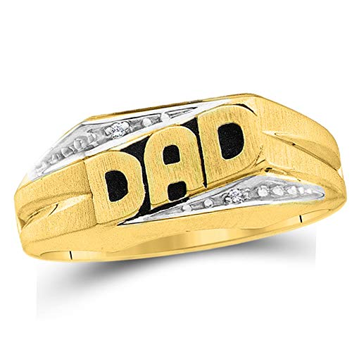 (Dazzlingrock Collection 10kt Yellow Gold Mens Round Diamond Dad Father Band Ring .01 Cttw)