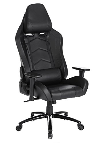 SEATZONE Brand New High-back Ergonomic Gaming Chair with Soft Headrest and Lumbar Support, 360 Degrees Swivel Racing Chair for Office, Video Game Room, Leatherette, Grey