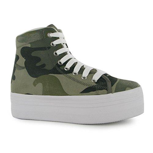 Jeffrey Campbell, scarpe sportive da donna in tela con suola alta e fantasia mimetica militare