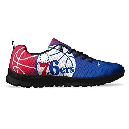 Men's Philadelphia Basketball Custom Fan Made Running/Athletic Sneakers Size 6 Black Custom Basketball Sneakers