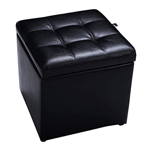 "(Giantex 16"" Cube Ottoman Pouffe Storage Box Lounge Seat Footstools W/Hinge Top and Bottom Feet Home Living Room Bedroom Furniture Storage Ottoman 16""×16"" ×16""Footrest Stool (Black))"