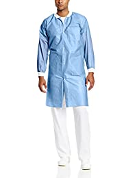 ValuMax 3560CBXS Easy Breathe Cool and Strong, No-Wrinkle, Professional Disposable SMS Knee Length Lab Coat, Ceil Blue, XS, Pack of 10