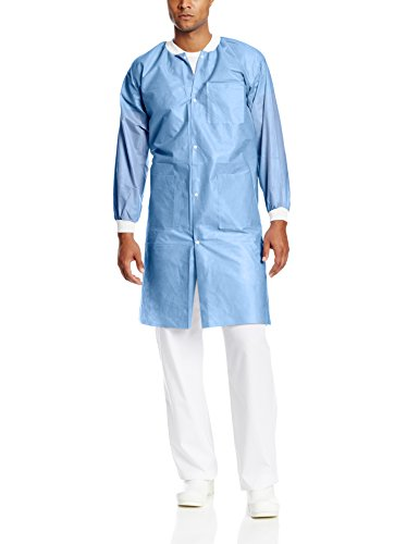 ValuMax 3560CBL Easy Breathe Cool and Strong, No-Wrinkle, Professional Disposable SMS Knee Length Lab Coat, Ceil Blue, L, Pack of 10 by Valumax (Image #1)