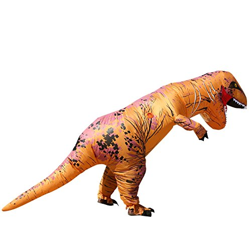 T-REX Costume Inflatable Dinosaur Outfit Blowup Adult Halloween Fancy Dress Suit Brown