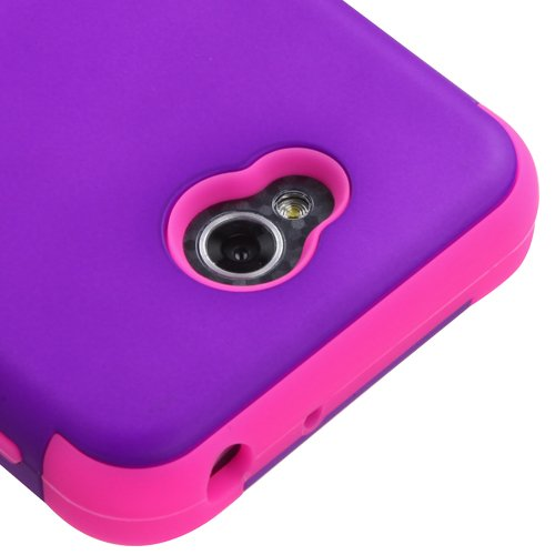 Kaleidio [MyBat TUFF] Armor Dual Layer Hybrid Case for LG Realm LS620 (Boost Mobile) / Ultimate II 2 L41C (Tracfone / NET10) [Includes a Overbrawn Prying Tool & Stylux Stylus] [Purple/Pink] (Boost Mobile Phones Case Lg Realm)