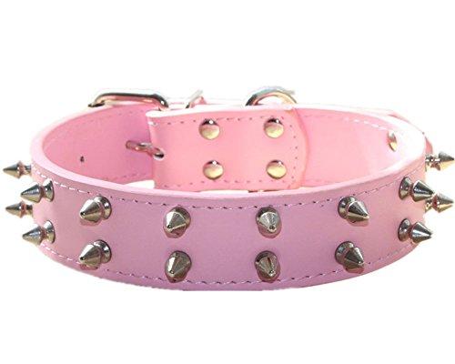 - haoyueer Spiked Studded Leather Dog Collar for Medium Large Dogs Pitbull English Bulldog Boxer Collar(Pink,M)