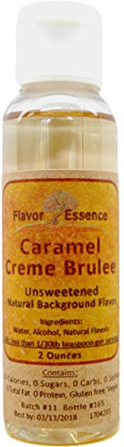 CARAMEL CREME BRULEE Flavoring by Flavor Essence (Unsweetened, Natural Background Flavoring) 2 Oz.| For Beverages: coffee/tea, shakes, smoothies, bar drinks. For Foods: baking, doughs, batters, frostings, yogurt