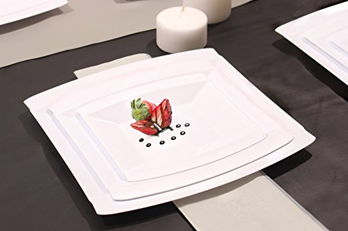 7 Plates Square Dessert (Crescent Collection, 40 Pack Premium Like Real China White Square 7 Inch Plastic Plates, Wedding and Party Dinnerware)