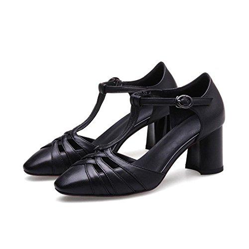 36 tacón Huecas Blanco AnchengKAO Zapatos cómodos Sandalias Vaca 2 Color 3 tamaño Mujer de Negro de Hebilla de EU de Grueso Piel CqrnTw5zq