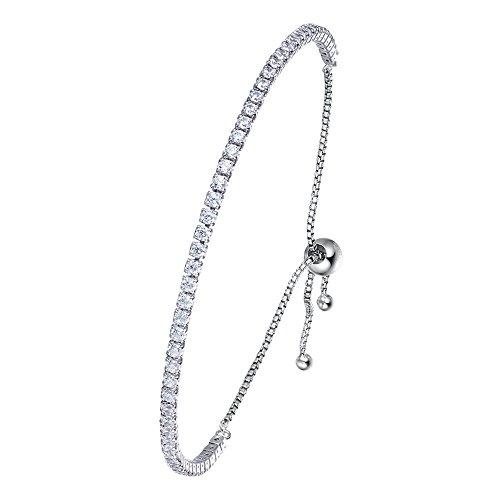 (Kaletine Tennis Bangle Bracelet Sterling Silver 925 Cubic Zirconia Adjustable Anchor Chain 10