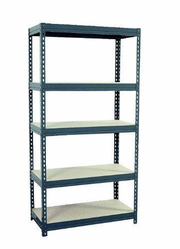 "Sandusky Lee CR3618 Gray Steel Boltless Rivet Particle Board Shelving, 72"" Height x 36"" Width x 18"" Depth, 5 Shelves"