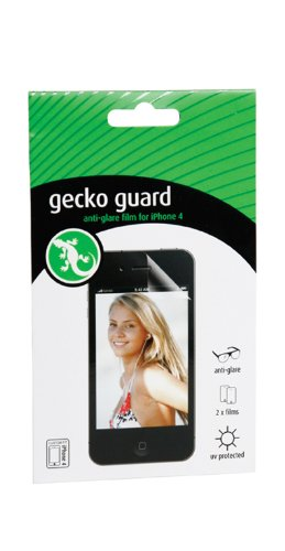 Gecko Guard Premium (Longer Life) Screen Protection Film Anti-Glare for iPhone 4/4S - 2 Pack - Retail Packaging