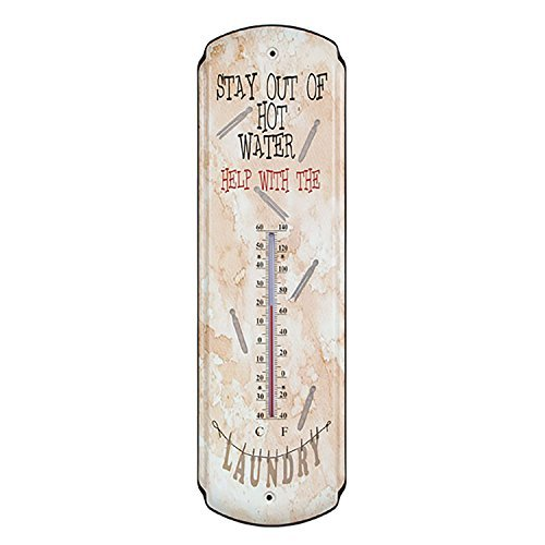 Stay Out of Hot Water Tin Metal Thermometer Rustic Vintage Prim Laundry Room Wall Decor