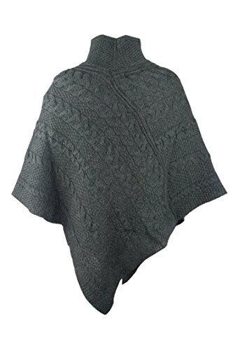 100% Irish Merino Ladies Aran Knit Poncho by West End Knitwear ()
