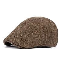 Mens Cotton-Linen Cap Newsboy-Ivy Cabbie Hat Flat Gatsby Irish Hunting