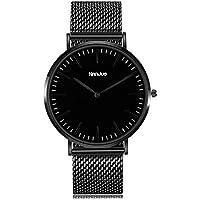 Nanjue Quartz Mesh Wrist Watch Waterproof Classic Business Casual Fashion Design Scratch Resistant Face Stainless Steel Case - Black (41mm, Black)