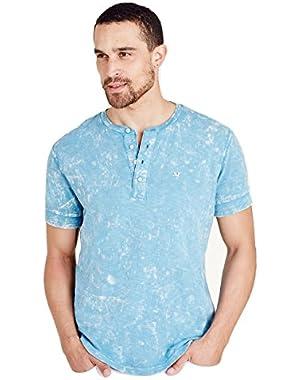 Men's Acid Wash Henley Tee T-Shirt in Varsity Blue