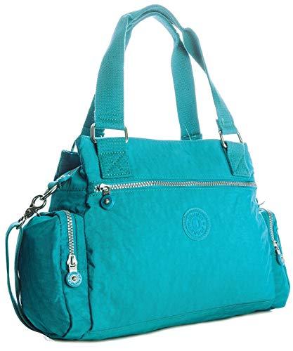 Bag Strap Fabric Style Lightweight Shoulder Handbag Gossip Nylon With Blue Duffel Holdall handbag Zip Girl Woven Pockets Multi 6wfCC7R1q