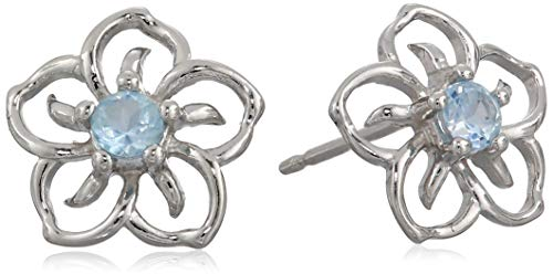 Sterling Silver Genuine Sky Blue Topaz Flower Stud Earrings